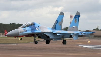 Photo ID 85064 by Niels Roman / VORTEX-images. Ukraine Air Force Sukhoi Su 27UB, 75 BLUE