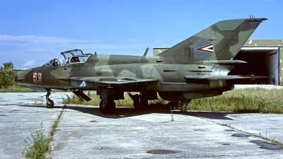 Photo ID 91279 by Carl Brent. Hungary Air Force Mikoyan Gurevich MiG 21UM, 53