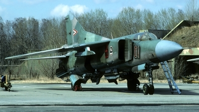 Photo ID 95687 by Carl Brent. Hungary Air Force Mikoyan Gurevich MiG 23MF, 01