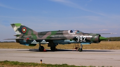 Photo ID 107768 by Lukas Kinneswenger. Bulgaria Air Force Mikoyan Gurevich MiG 21bis, 392
