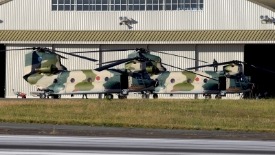 Photo ID 110088 by Carl Brent. Japan Air Force Kawasaki Boeing Vertol CH 47J, 17 4500