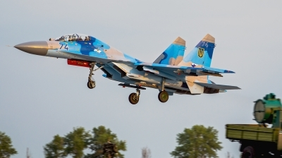Photo ID 142756 by Antoha. Ukraine Air Force Sukhoi Su 27UB, 74 BLUE