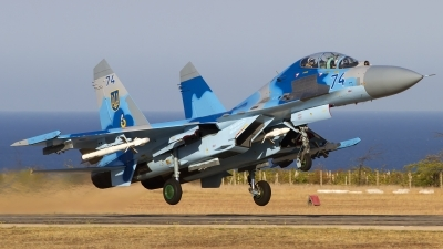 Photo ID 144251 by Chris Lofting. Ukraine Air Force Sukhoi Su 27UB, 74 BLUE