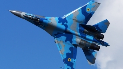 Photo ID 156638 by Lukas Kinneswenger. Ukraine Air Force Sukhoi Su 27UB, 69 BLUE
