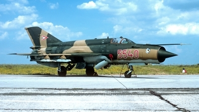 Photo ID 188804 by Carl Brent. Hungary Air Force Mikoyan Gurevich MiG 21bis SAU, 5540