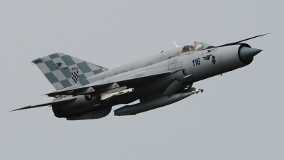 Photo ID 213043 by Lukas Kinneswenger. Croatia Air Force Mikoyan Gurevich MiG 21bisD, 116