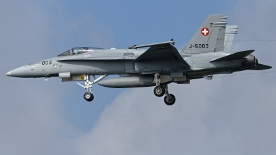 Photo ID 224029 by Rainer Mueller. Switzerland Air Force McDonnell Douglas F A 18C Hornet, J 5003
