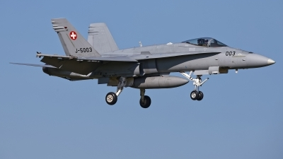 Photo ID 224244 by Rainer Mueller. Switzerland Air Force McDonnell Douglas F A 18C Hornet, J 5003
