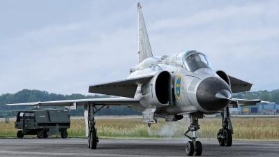 Photo ID 228870 by Rainer Mueller. Private Swedish Air Force Historic Flight Saab AJS37 Viggen, SE DXN