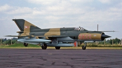 Photo ID 244035 by Peter Fothergill. Hungary Air Force Mikoyan Gurevich MiG 21bis SAU, 5822