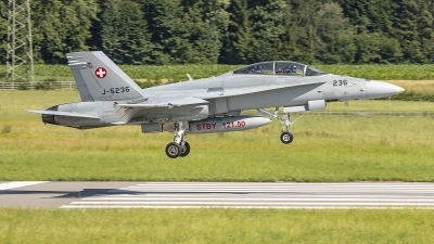 Photo ID 244975 by Lars Kitschke. Switzerland Air Force McDonnell Douglas F A 18D Hornet, J 5236