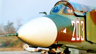 Photo ID 42556 by Alexander Mladenov. Bulgaria Air Force Mikoyan Gurevich MIG 23MLD, 203