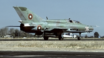 Photo ID 61852 by Carl Brent. Bulgaria Air Force Mikoyan Gurevich MiG 21UM, 36