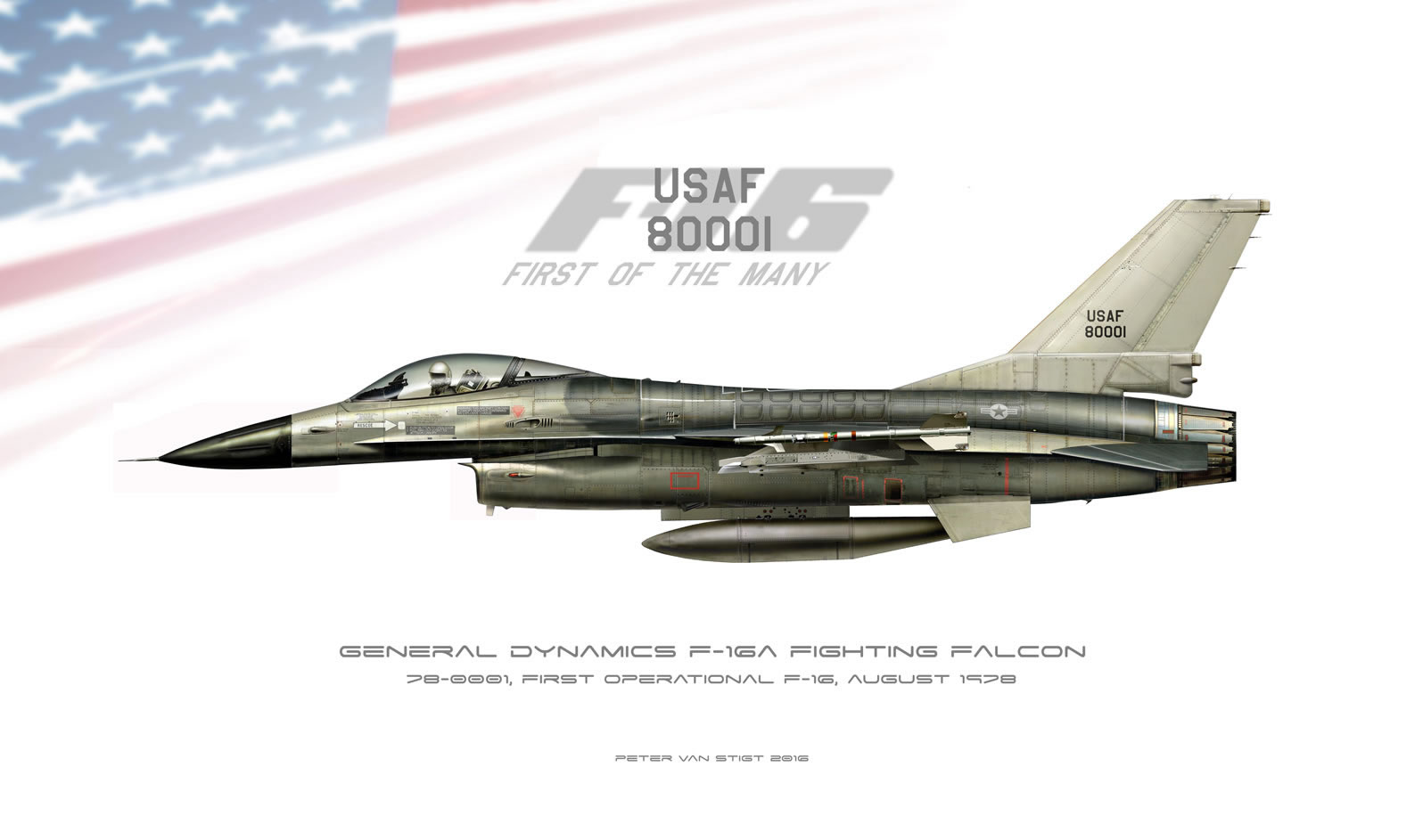 US Air Force F-16A 80-0001 Profile
