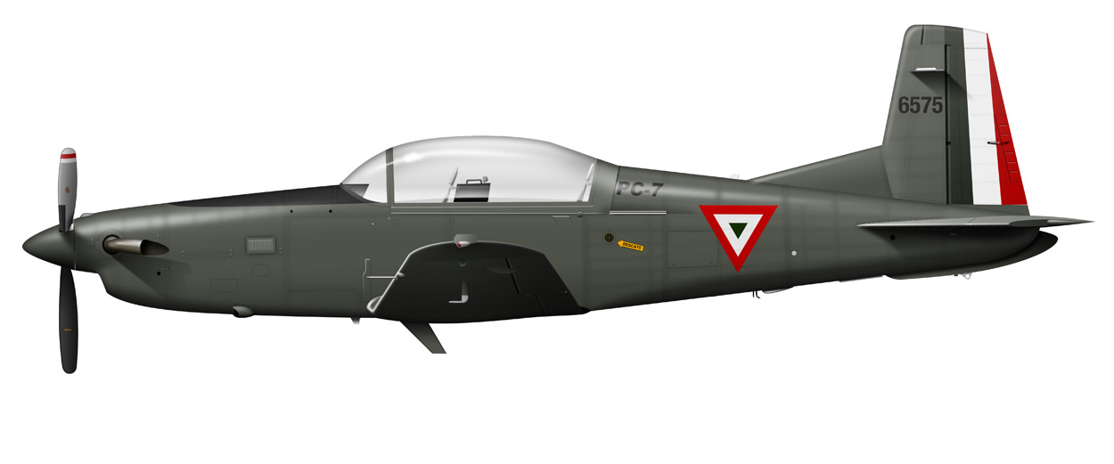 profile of a Mexican Airforce PIlatus PC-7