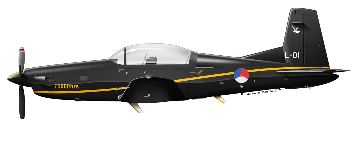 profile of a Royal Netherlands AIr Force Pilatus PC-7 L-01