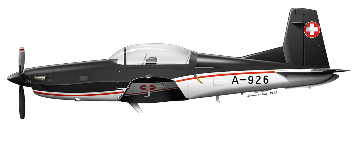 profile of a Swiss Air Force Pilatus PC-7 A-926