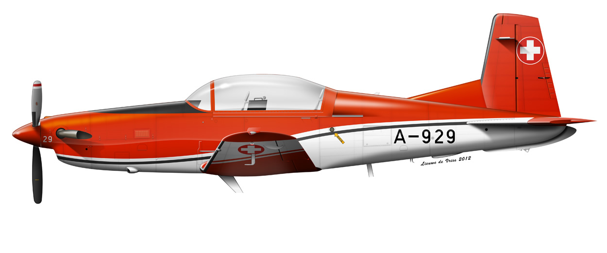 profile of a Swiss Air Force Pilatus PC-7 A-922