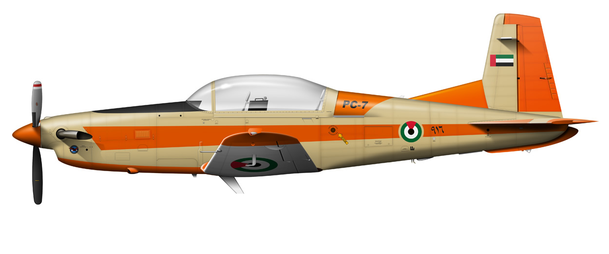 profile of a Pilatus PC-7 UAE Air Force